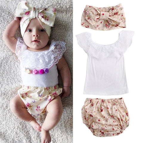 Lace Shirt With Floral Shorts and Headband 3 Piece Set - MunchkinGear.com
