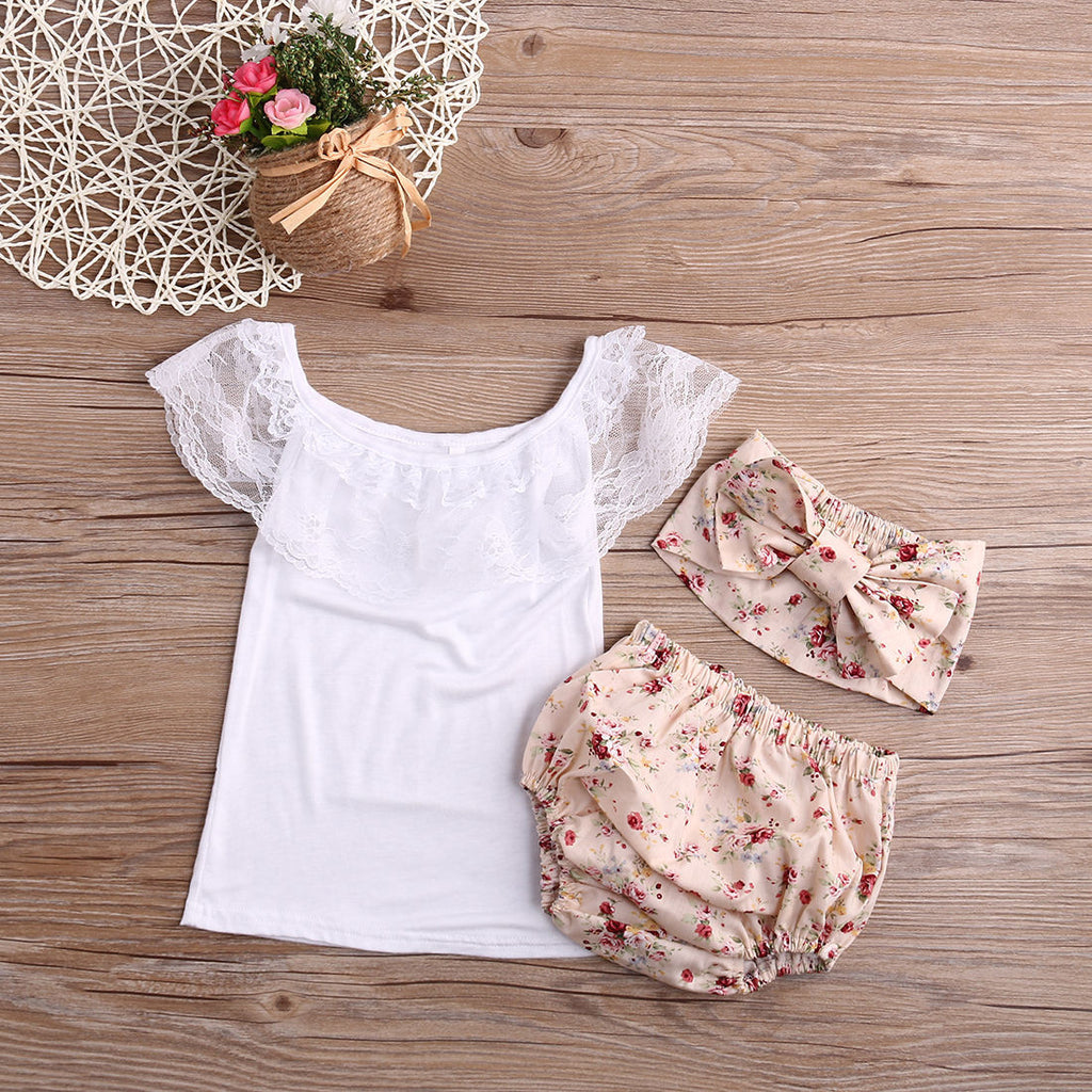 Lace and Floral 3 PC Set - MunchkinGear.com
