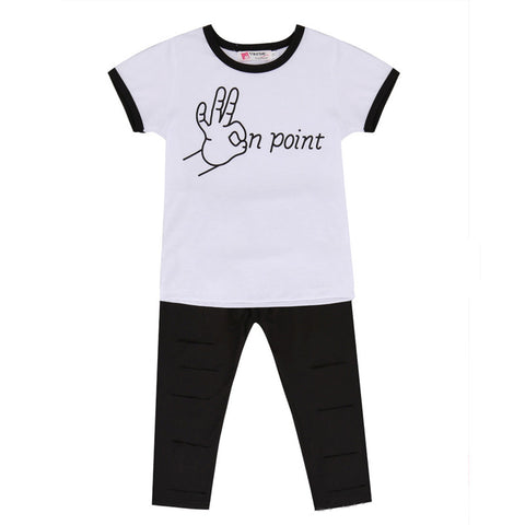 Cool Girls Outfit T-Shirt + Ripped Pants 2 Piece Set - MunchkinGear.com