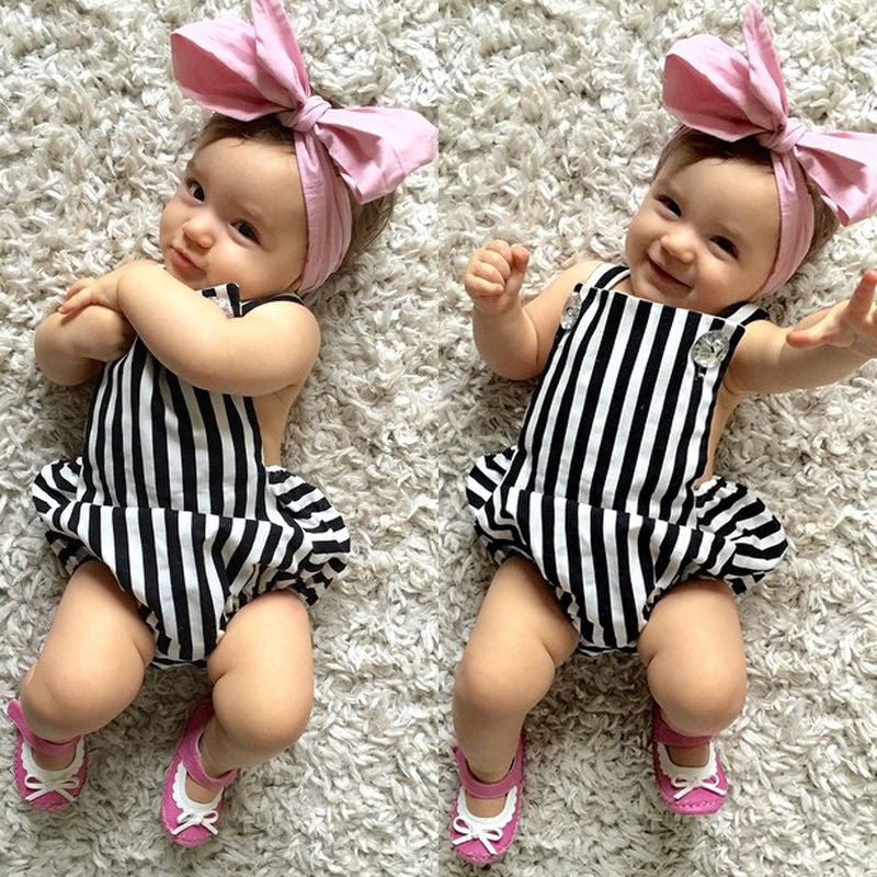 Black and White Striped Romper - MunchkinGear.com