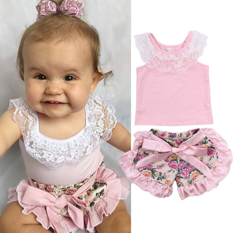 Lace T-Shirt + Floral Shorts 2 Piece Set - MunchkinGear.com