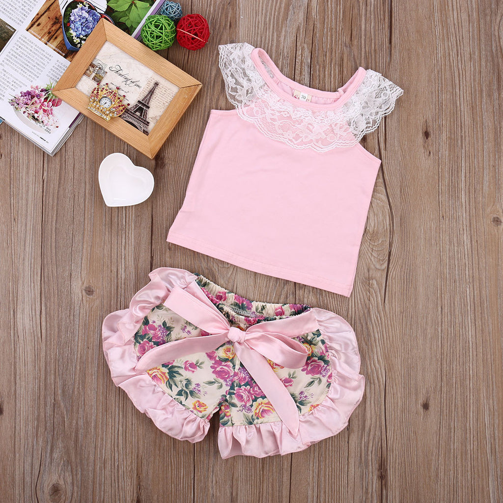 Lace and Floral 2 PC Set - MunchkinGear.com