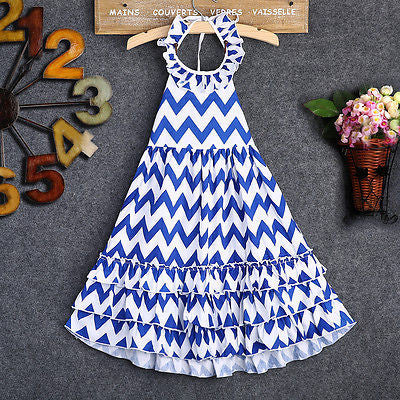 Blue & White Wavy Maxi Dress - MunchkinGear.com
