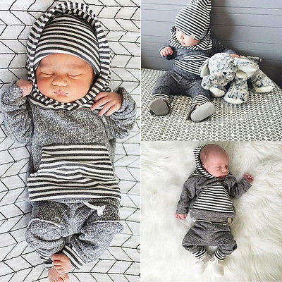Warm Gray Striped 2 PC Set - MunchkinGear.com