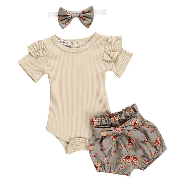 Floral Neutral Tones 3 Pc Set - MunchkinGear.com