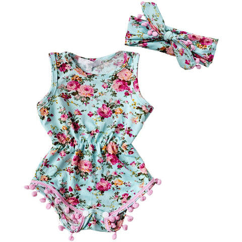 Floral Romper With Headband Set Turquoise - MunchkinGear.com