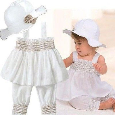 White Summer Outfit 3 Piece Set - MunchkinGear.com