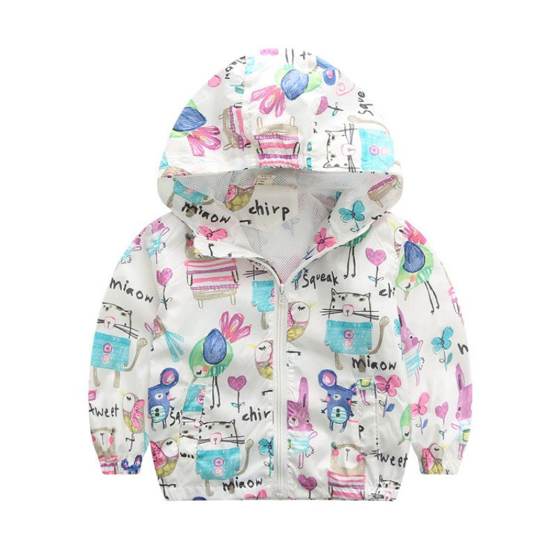 Cartoon Pattern Warm Hooded Rain Jacket - MunchkinGear.com