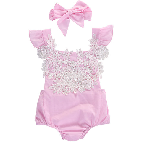 Pink Lace Onesie With Headband Set - MunchkinGear.com