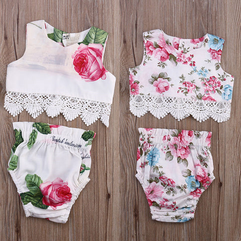 Casual Floral 2 Piece Sets With Lace - MunchkinGear.com