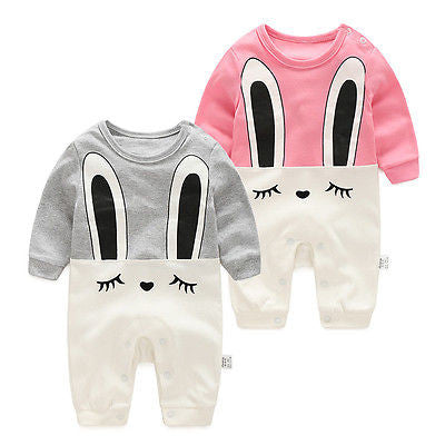 Gray or Pink Bunny Rompers