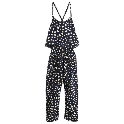 Heart Pattern Jumpsuit and Headband Set