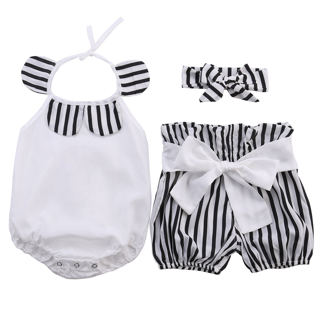 Bodysuit With Stripped Shorts and Headband 3 Piece Set - MunchkinGear.com