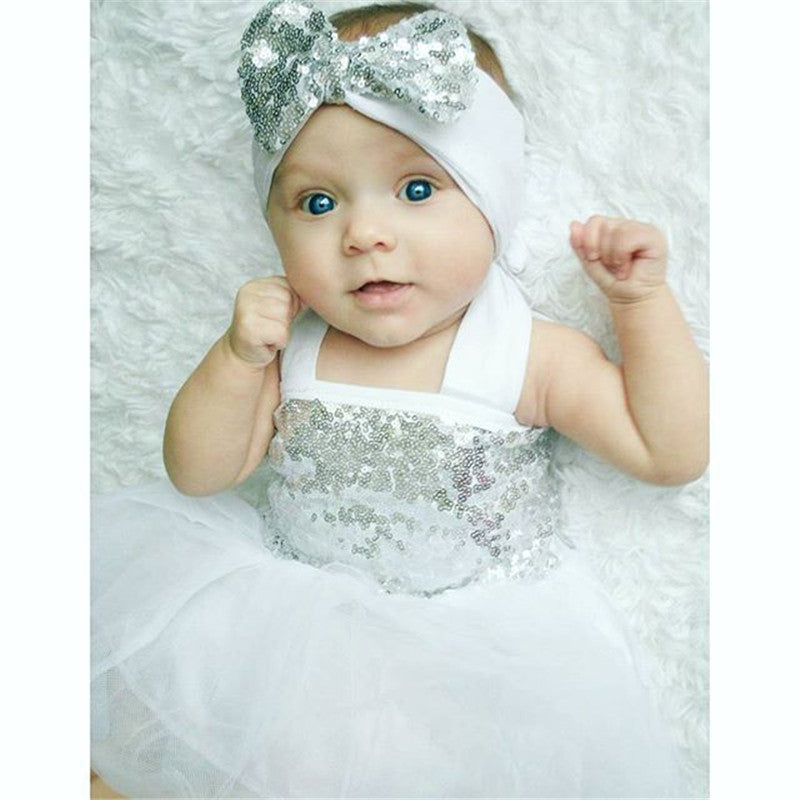 White Sequin Dress With Headband Set - MunchkinGear.com