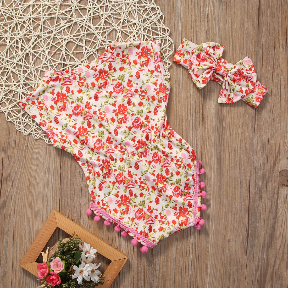 Red and Pink Floral Romper - MunchkinGear.com