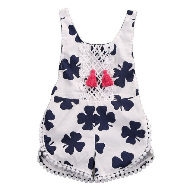 Blue and White Clover Pattern Romper