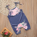 Soft Navy and Pink Floral Romper