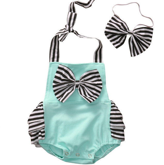 Striped Blue Jumpsuit With Bow Headband Set - MunchkinGear.com