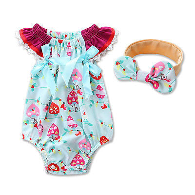 Blue and Pink Heart Pattern Romper With Headband