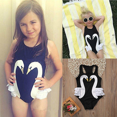 Full Piece Black Swan Bathing Suit