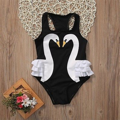 Full Piece Black Swan Bathing Suit - MunchkinGear.com