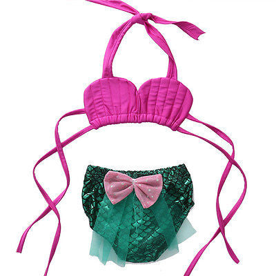 Pink 2 Piece Mermaid Swim Suit - MunchkinGear.com