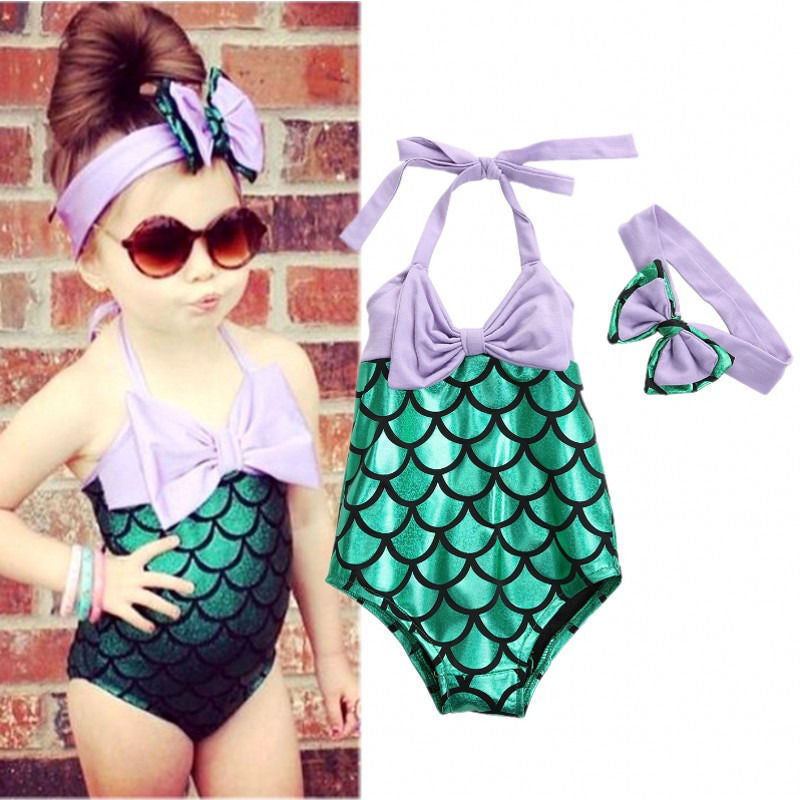 Mermaid Full Piece Swim Suit With Headband - MunchkinGear.com