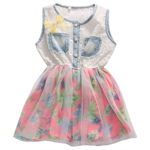 Denim and Floral Dress - MunchkinGear.com