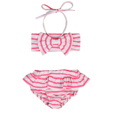 Pink and White Striped Bikini