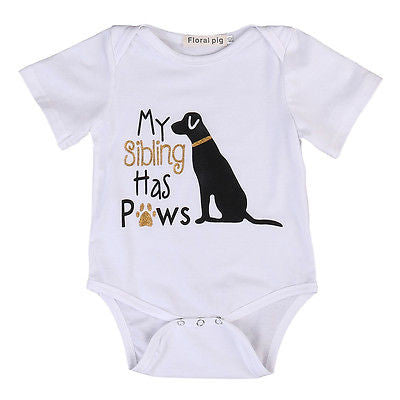 My Sibling Has Paws Onesie with Sparkles Dog