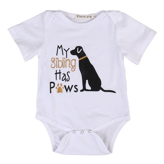 My Sibling Has Paws Onesie with Sparkles Dog - MunchkinGear.com