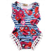 Blue and Red Striped and Flower Pattern Sleeveless Romper - MunchkinGear.com