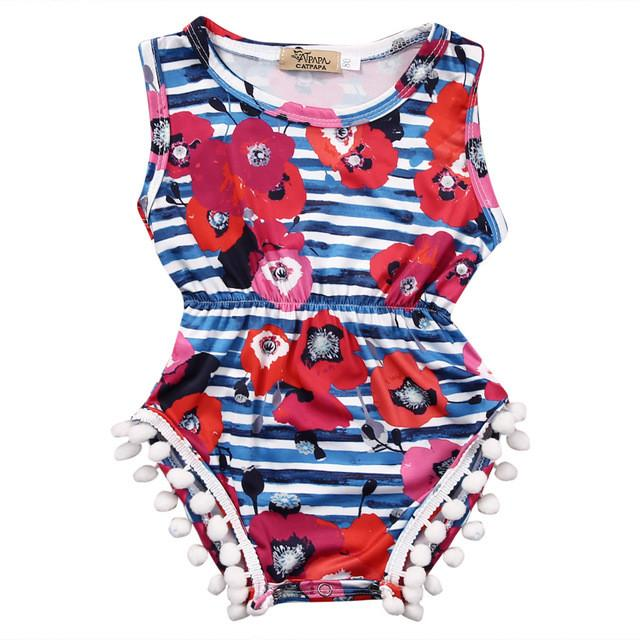 Floral and Strips Summer Romper