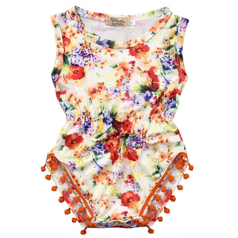 Orange Floral Sleeveless Romper - MunchkinGear.com