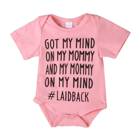 Got My Mind On My Mommy Pink Onesie