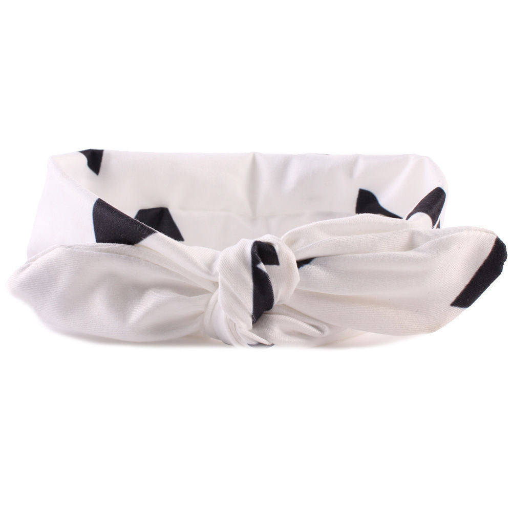 White and Black Pattern Bowknot Headband
