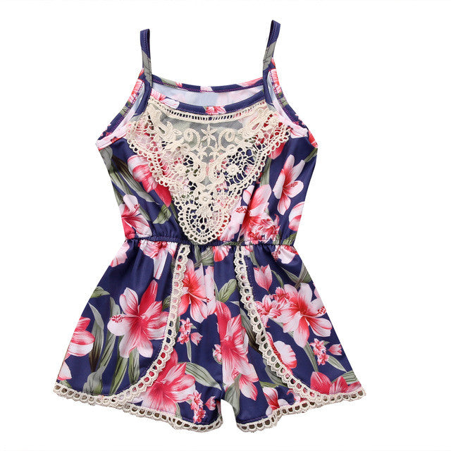 Navy Floral and Lace Romper - MunchkinGear.com