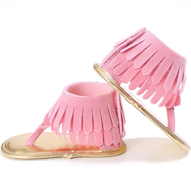 Light Pink Tassel Soft Sandals - MunchkinGear.com