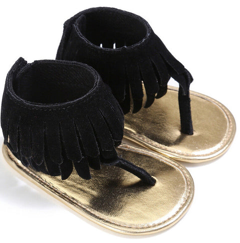 Black Tassel Soft Sandals