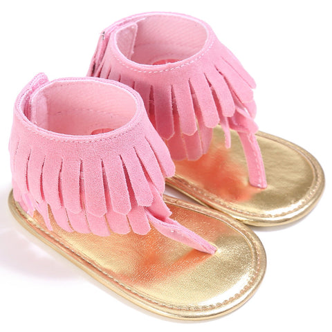 Light Pink Tassel Soft Sandals