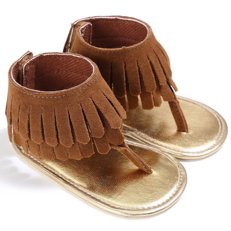 Soft Brown Tassel Sandals - MunchkinGear.com