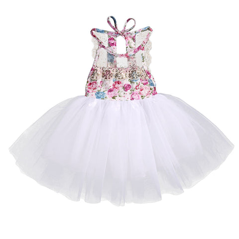 Floral White Sleeveless Tutu Party Dress