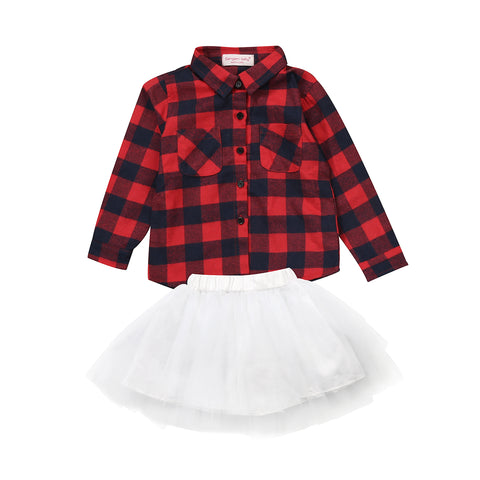 Plaid Pattern Shirt and Tutu Set