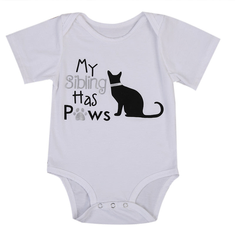 My Sibling Has Paws Onesie with Sparkles Cat - MunchkinGear.com