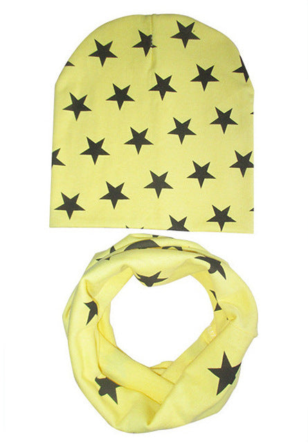 Star Pattern Scarf and Hat Set