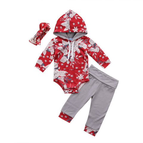 Hooded Red Floral Pattern 3PC Set