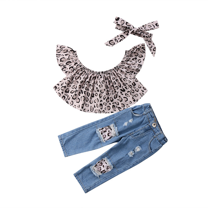 Leopard and Denim 2 PC Set - MunchkinGear.com