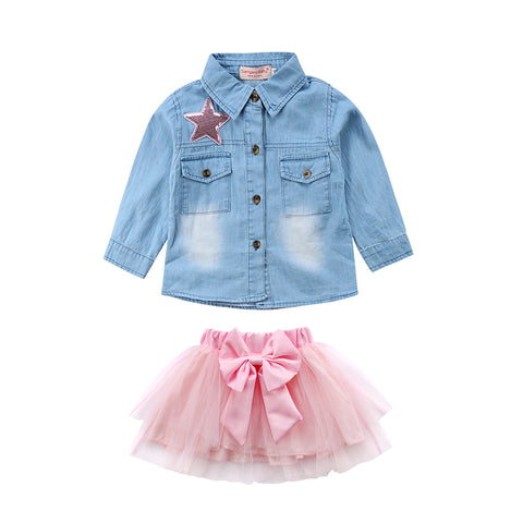 Denim Shirt and Pink Tutu Princess Set - MunchkinGear.com