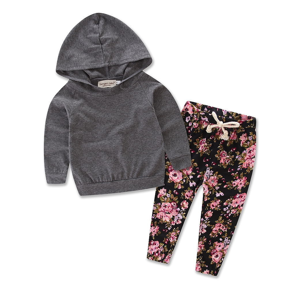 Gray Floral Hoodie Set - MunchkinGear.com
