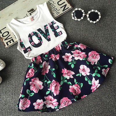 Love Top and Floral Skirt 2 Piece Set - MunchkinGear.com